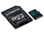 Kingston Canvas Go! MicroSDXC memóriakártya, 128GB, U3 UHS-I V30, SD adapter