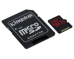 Kingston Canvas React MicroSDXC memóriakártya, 64GB, CL10 UHS-I U3 V30, SD adapter